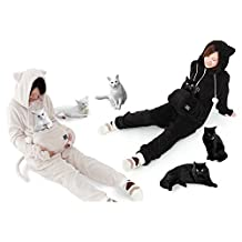 UNIHABITAT Mewgaroo Hoodie Jumpsuit Black M size Cat DAMENEKO [Japan Inport]