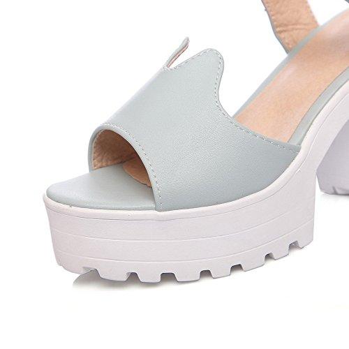 Amoonyfashion Kvinna Pu Höga Klackar Öppen Tå Fast Spänne Krängt-sandaler Blå