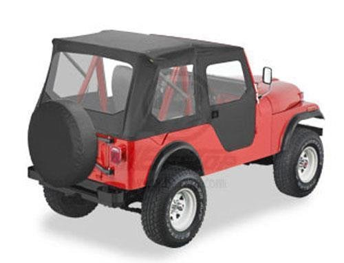 Bestop 51405-01 Black Crush Tigertop Complete Replacement Soft Top with Clear Windows; Includes doors for 1955-1975 Jeep CJ5 & 1951-1962 M38A1