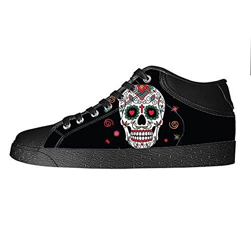 Da Canvas I Le Lacci Teschio Di Scarpe Delle In Alto Ginnastica Custom Tela Men's Sopra Shoes qw741a