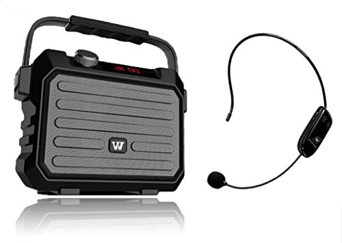 (W WINBRIDGE Wireless PA System Portable, Voice Amplifier, Speaker with Microphone Bluetooth 30W Rechargable Sound System Life Saver Small Lightweigh WBH5)