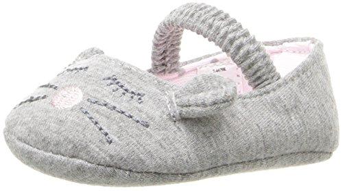 Baby Deer Girls' Knit Mouse Skimmer Slip-On, Grey, 3 M US Infant