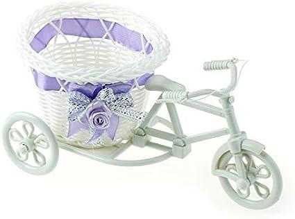 MRDS Contenedor Blanco de la Cesta de la Flor de la Bici del Triciclo para el florero de la decoración del hogar de la Planta de la Flor, 1pcs-Color al Azar