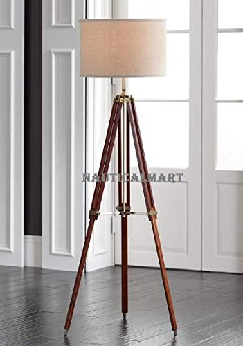 NAUTICALMART Designer's Cherry Finish Wood Adjustable Tripod Floor Lamp - Only Lamp Stand -