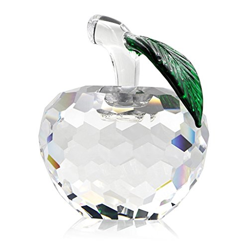 Coolbros Crystal Apple Figurine Exquisite Gift Paperweight 4Cm  1 57 Inch   White