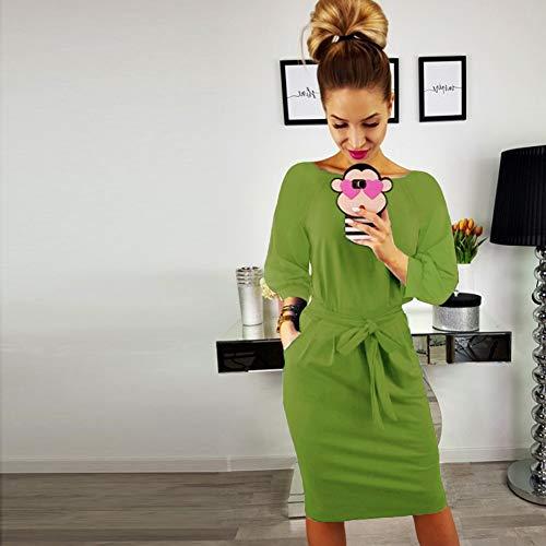 para Las de Longwu Manga el Vestido Elegante con Trabajar lápiz del Mujeres Corta de Vestido Ocasional Verde Pasto la Correa wAqrYw8