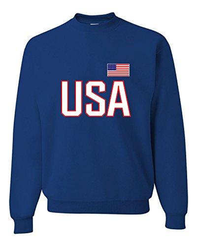 XX-Large Royal Adult USA National Pride Sweatshirt Crewneck