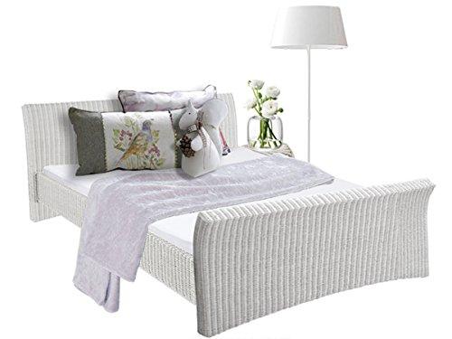 Bett NINA in 140 cm order 180 cm aus Rattan für Schlafzimmer (140, weiß)