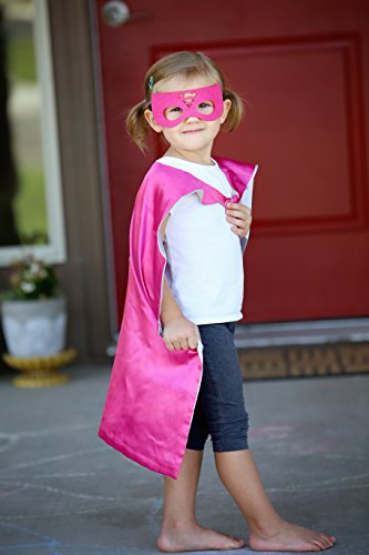 Superwoman Super Hero Cape & Mask - Pink and Silver Hero Cape, Super Hero Mask & Cape, Superwoman