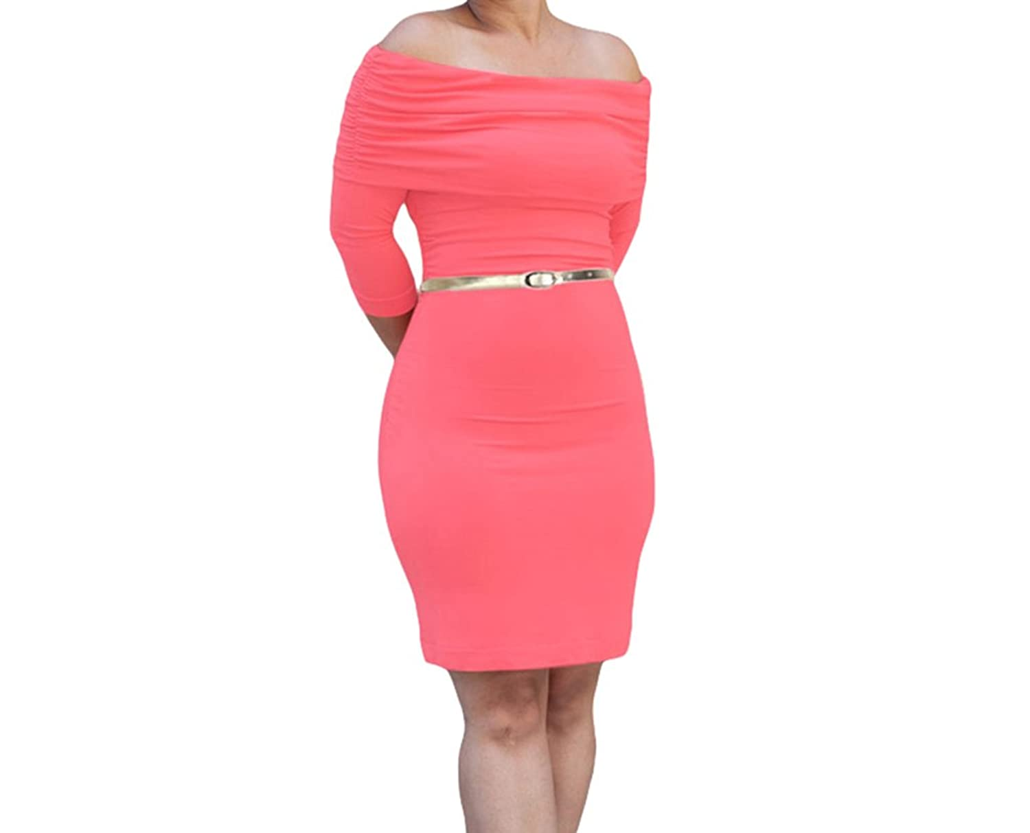PEGGYNCO Womens Red Three Quarter Sleeve Ruched Overlay Bust Bodycon Dress