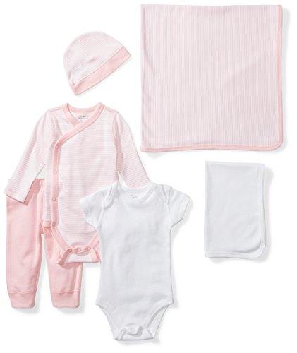 Moon and Back Baby 6-Piece Organic Playtime Gift Set, Pink Blush, 0-3 Months