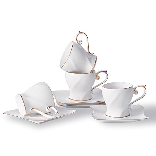 Espresso Cups set of 4, Porcelain Coffee Cups and Saucers set, Tea Cups and Saucers, Ceramics Coffee Mug - 6 Ounce Porcelain Tea set for Office and Home, Latte, Cafe Mocha and Tea