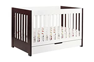 Babyletto Mercer 3-in-1 Convertible Crib with Toddler Bed Conversion Kit, Espresso / White