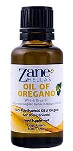 ZANE HELLAS Acéite de Orégano Esencial Griego Silvestre Puro con 86 por ciento Mínimo de Carvacrol, 100 % Acéite de Orégano. 1 fl. oz. 30 ml. Carvacrol por Porción 129 mg. Super 100.