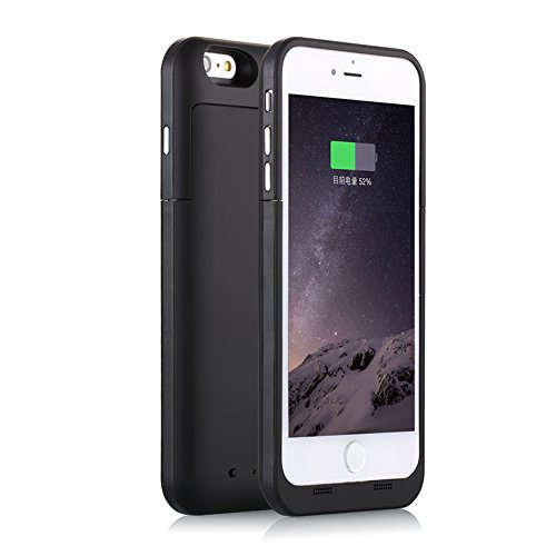 iPhone 6S Plus / 6 Plus (not for iPhone 6 / 6s) Battery Case Charger [Extra Bonus-Tempered Glass Screen Protector], 6800mAh External Battery Backup Protective Charger Case (Black)