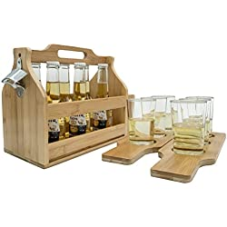 Sorbus Wooden Bottle Caddy with Opener & Sampler Boards, Drink Holder for Beer, Soda, Perfect for Bar, Pub, Restaurant, Brew Fest Party, and More, Bamboo
