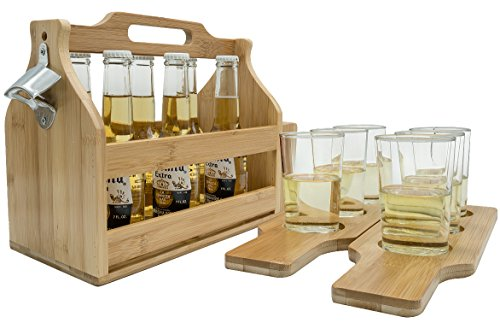 Sorbus Wooden Bottle Caddy with Opener & Sampler Boards, Drink Holder for Beer, Soda, Perfect for Bar, Pub, Restaurant, Brew Fest Party, and More, Bamboo -