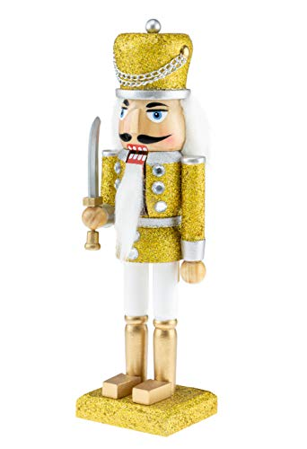 Clever Creations Wooden Glittery Soldier Nutcracker | Gold and Silver Uniform Holding Sword | Festive Traditional Christmas Decor | Great for Any Holiday Collection | 10