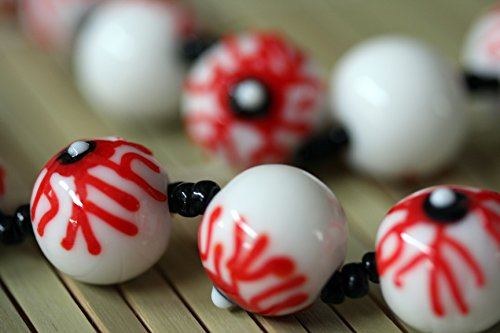 Halloween Theme Eye Ball (Black) Lampwork Glass Beads (Pack of 12 (Halloween Lampwork Glass Beads)