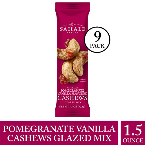 (Sahale Snacks Pomegranate Vanilla Flavored Cashews Glazed Mix, 1.5 oz., Pack of 9 - Resealable Pouch, Nut Snacks with No Artificial Flavors, Preservatives or Colors, Gluten-Free Snacks)