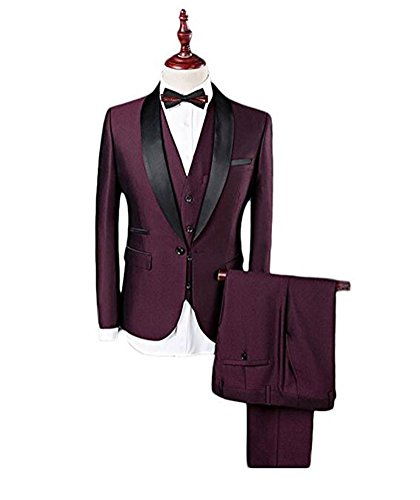 Botong Burgundy Peak Lapel Men Suits 3 Pieces Wedding Suits for Men Groom Tuxedos Burgundy 40 chest / 34 waist by Botong
