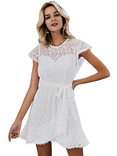 Simplee Women's Floral Lace Ruffle A Line Mini Dress Cap Sleeve Wedding Dress with Lining Belted White 10 ()