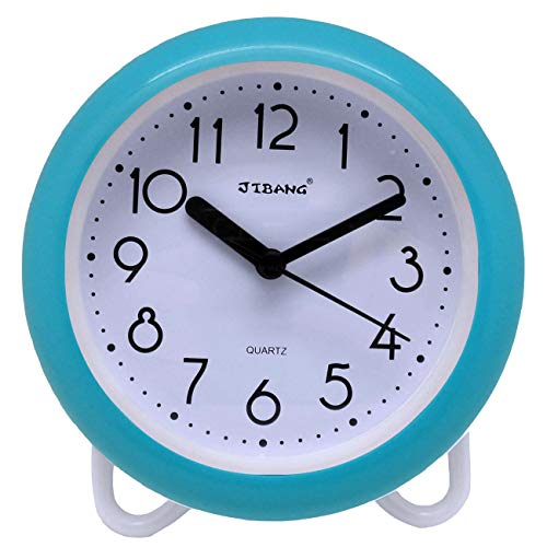 JIBANG Waterproof Bathroom Clock, Quartz Battery Operated Clock, 7 Inches Silent Non-Ticking Wall Clock, Light Blue ()