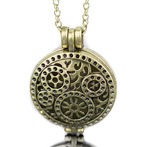 Soul Statement Halloween Steampunk Locket Necklace (Vintage Brass Gears)