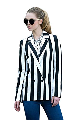 Moxeay Black and White Striped Blazer Jacket Halloween Beetlejuice Costume (XL, Black&White(no Fake Pockets)) ()
