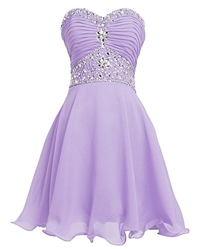 Women A-line Sweetheart Strapless Empire Short Crystal Homecoming Dresses Lavender US6 ()