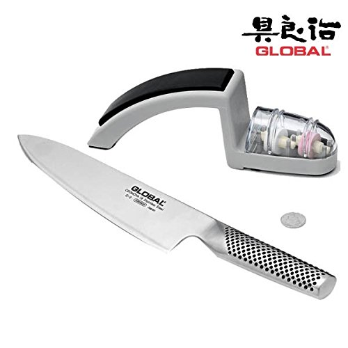 Global Knives 8'' Chef's Knife (G-2) with 220/GB Knife Sharpener Set by Global
