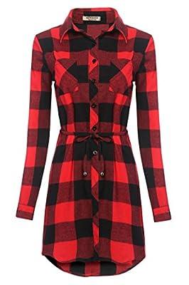HOTOUCH Women's Long Sleeve Button Down Long Red Plaid Shirt Checker Dress W/ Belt