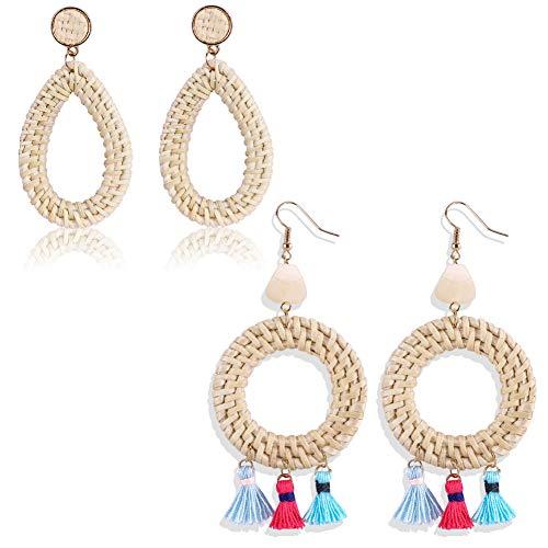 (Woven Rattan Earrings for Women - Handmade Straw Wicker Braid Drop Dangle Lightweight Geometric Boho Tassel Statement Earrings, 2)