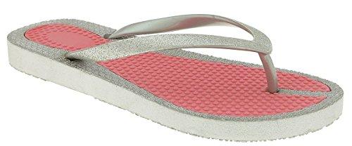Capelli New York Fine Glitter Faux Leather Ladies Flip Flops Coral Combo XQPOnUgI