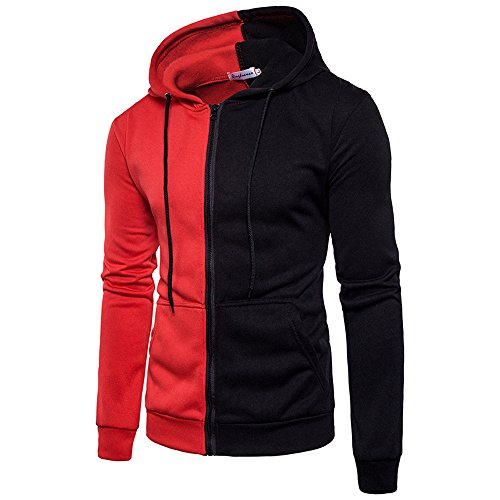 Shybuy Mens Casual Lightweight Long Sleeve Full Zip-up Cotton Color Block Slim Fit Hoodies (Red, M) by Shybuy Mens Top