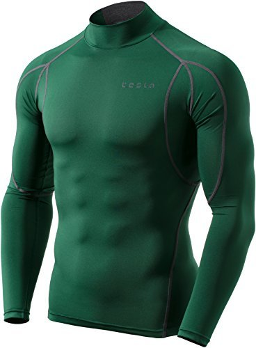 Price comparison product image Tesla TM-MUT12-GRN_Large Men's Mock Long-Sleeved T-Shirt Cool Dry Compression Baselayer MUT12
