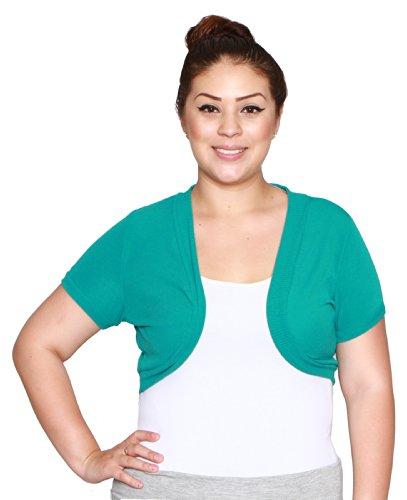 Libian Junior Plus Size Open Front Cropped Bolero Cardigan Sweater Shrug (1X, Jade)