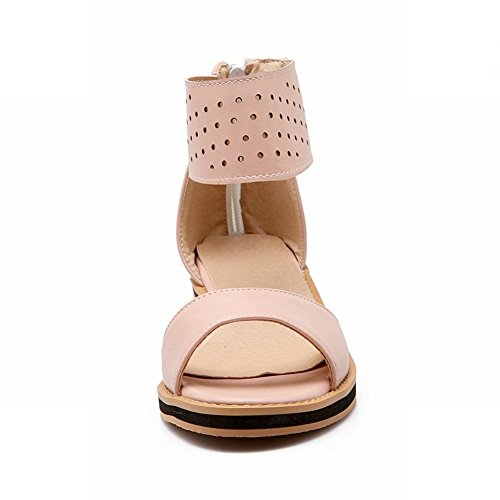 Carolbar Womens Zip Ankle Strap Sandy Beach Casual Comfort Sweet Open Toe Low Heel Dress Sandals Pink CjYnkwsHVv