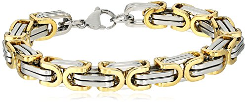 Crucible Jewelry Mens Gold IP Stainless Steel Two Tone Byzantine Bracelet, 8-Inch, Gold/White