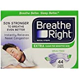 Breathe Right Nasal Strips, Extra Clear for Sensitive Skin, 44 Clear Strips , Pack of 2