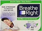 Breathe Right Nasal Strips, Extra Clear for Sensitive Skin, 44 Clear Strips , Pack of 6