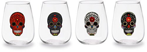 Circleware 77015 Sugar Skull Stemless Wine Glasses, Set of 4 Drinking Glassware for Water, Juice, Beer, Liquor and Best Selling Kitchen and Home Decor Bar Dining Beverage Gifts, 18.9 oz, Clear ()
