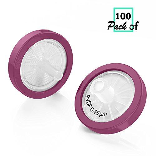 Syringe Filter PVDF Membrane 25mm Diameter 0.45um Pore Size non Sterile Pack of 100 by Bioemd Scientific