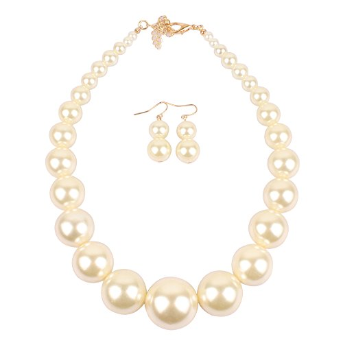 KOSMOS-LI Large Style Big Imitate Pearl Strand Choker Necklace With Earrings Set (Choker Set Strand)