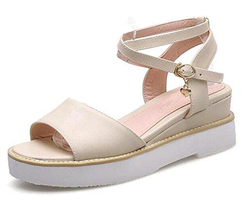 FLY di Londra color crema chiaro Zeppa Punta Aperta Sandali Con Cinturino alla Caviglia. Taglia 40