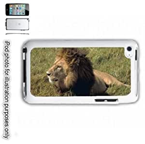 African Lion Photo iPOD 4 Touch Hard Case Cover Shell White 4th Generation White