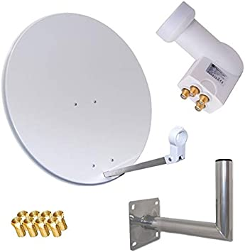 HD Satélite (Antena Parabólica 80 cm espejo + Opticum Quad LNB para 4 usuarios + 40 cm Soporte de pared (3 colores seleccionables)
