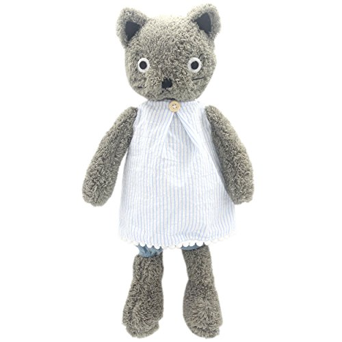 - JIARU Dressed Stuffed Animals Grey Cats Plush Toys Dolls 9 Inches