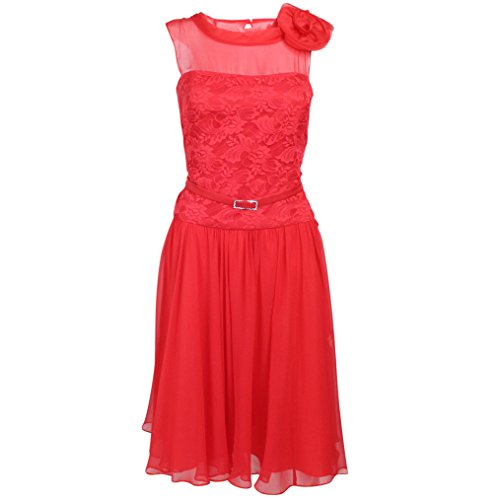 Teri Jon Womens Lace & Chiffon Cocktail Dress Red 2
