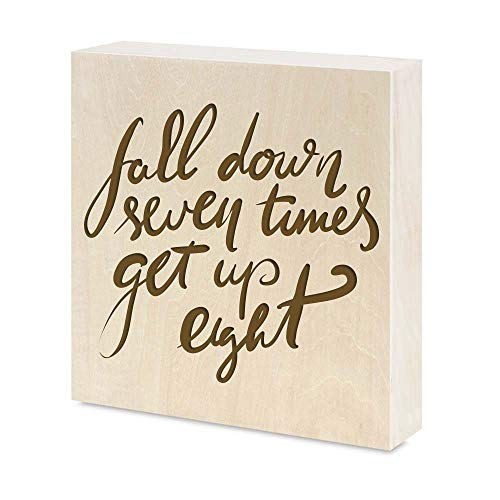 wallsparks Positive Sayings Inspirational Quotes Engraved Real Natural Wood Frame Hang or Stand on Desk Birthday Gift Home Office Decor (6x6 inches, Fall Down Seven Times get up Eight) (Fall Down Seven Get Up Eight Quote)